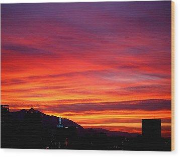 Fiery Sunset Wood Print by Rona Black