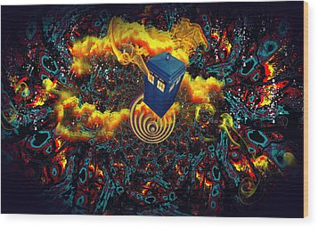 Wood Print featuring the painting Fiery Time Vortex by Digital Art Cafe