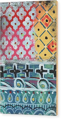 Fiesta 6- Colorful Pattern Painting Wood Print by Linda Woods