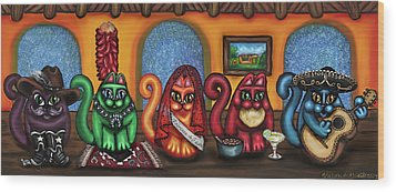 Fiesta Cats Or Gatos De Santa Fe Wood Print by Victoria De Almeida