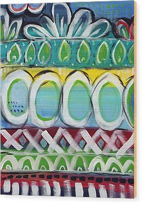 Fiesta - Colorful Painting Wood Print by Linda Woods