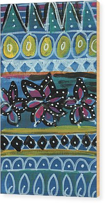 Fiesta In Blues- Abstract Pattern Painting Wood Print by Linda Woods