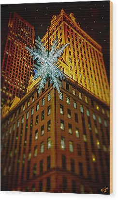 Wood Print featuring the photograph Fifth Avenue Holiday Star by Chris Lord