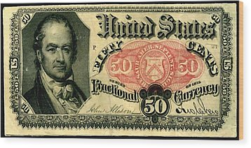 Fifty Cents 5th Issue U.s. Fractional Currency Fr 1381 Wood Print by Lanjee Chee