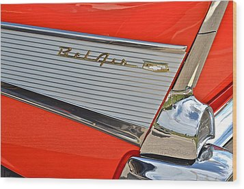 Fifty Seven Chevy Bel Air Wood Print by Frozen in Time Fine Art Photography