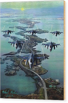 Fighter Jet Squadron  Wood Print by Michael Rucker