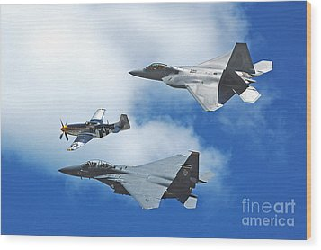 Wood Print featuring the photograph Fighter Jets Old And New by Stephen Flint