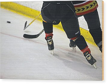 Fighting For The Puck Wood Print by Shoal Hollingsworth