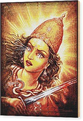 Fighting Goddess Wood Print by Ananda Vdovic