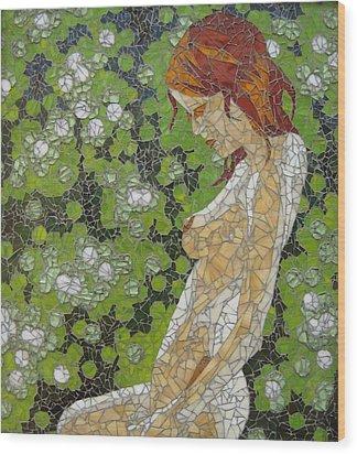 Figure In Front Of Green Spots Wood Print by Rachel Van der pol