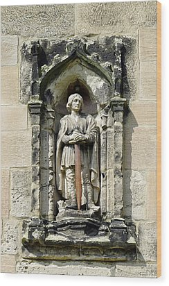 Figure Of St Wystan Above Porch Door Wood Print by Rod Johnson