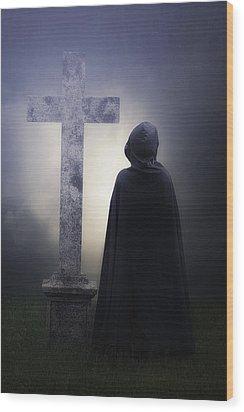 Figure On Graveyard Wood Print by Joana Kruse