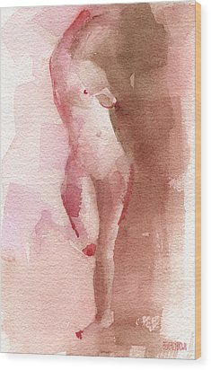 Figure Red Brown Magenta Watercolor Painting Wood Print by Beverly Brown Prints