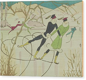 Figure Skating  Christmas Card Wood Print by American School