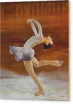 Figure Skating Wood Print by Elizabeth Coats
