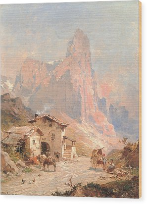 Figures In A Village In The Dolomites Wood Print by Franz Richard Unterberger