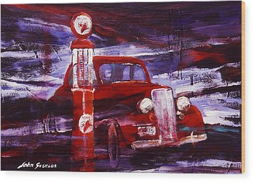 Wood Print featuring the painting Fill Er Up 1935 by John  Svenson