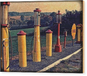 Fill 'er Up Vintage Fuel Gas Pumps Wood Print
