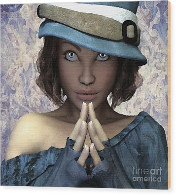 Wood Print featuring the painting Fille Au Chapeau by Sandra Bauser Digital Art