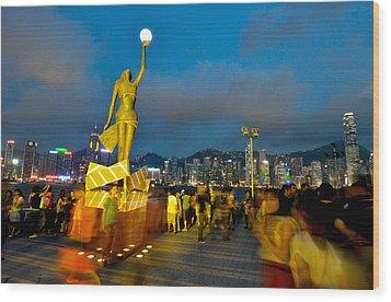 Film Statue At Avenue Of Stars Wood Print by Hisao Mogi