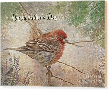 Finch Greeting Card Father's Day Wood Print by Debbie Portwood