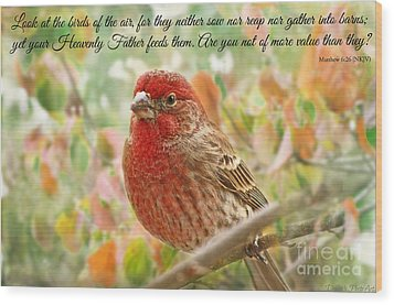 Finch With Verse New Version Wood Print by Debbie Portwood