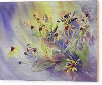 Finches To The Feast Wood Print by Gail Vass