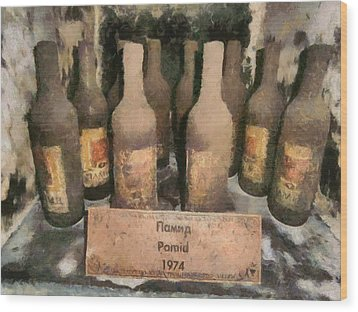 Find Vintage White Wine Pamid 1974 Wood Print by Georgi Dimitrov