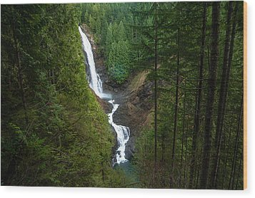Finding The Falls Wood Print by Crystal Hoeveler