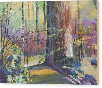 Finding The Forest Wood Print by Melody Cleary
