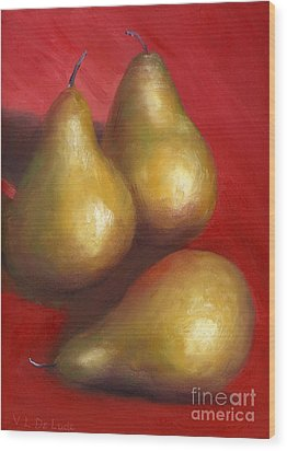 Fine Art Hand Painted Golden Pears Red Background Wood Print by Lenora  De Lude