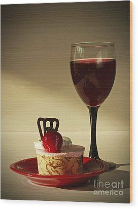 Fine Red Wine And Strawberry Marble Torte Dessert Wood Print by Inspired Nature Photography Fine Art Photography