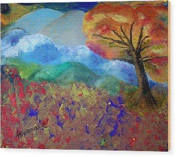 Fingerpainting Wood Print by Annamarie Sidella-Felts