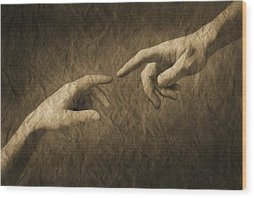 Fingers Almost Touching Wood Print by Don Hammond