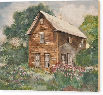 Wood Print featuring the painting Finlayson Old House by Susan Crossman Buscho