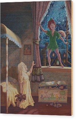 Wood Print featuring the painting Finn Meets Peter by Matt Konar