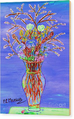 Wood Print featuring the painting Fiori by Loredana Messina