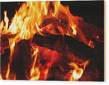 Fire-2 Wood Print by Denise Moore
