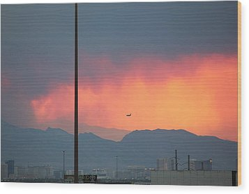 Fire Above Vegas Wood Print
