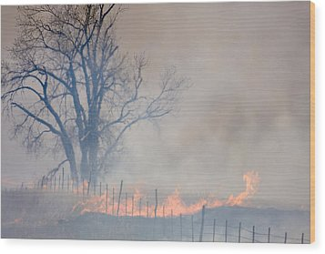 Fire And Fence Line Wood Print by Scott Bean