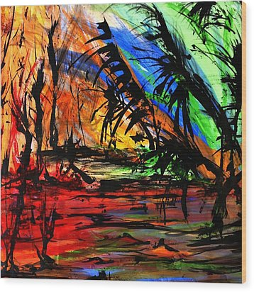 Wood Print featuring the painting Fire And Flood by Helen Syron