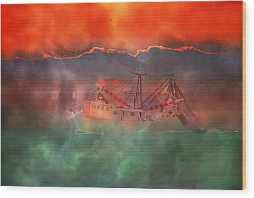 Fire And Ice Misty Morning Wood Print by Betsy Knapp