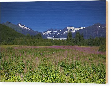 Fire And Ice Of Mendenhall Glacier Wood Print
