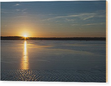 Wood Print featuring the photograph Fire And Ice - Sunset On An Icy Lake by Jane Eleanor Nicholas