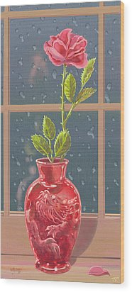 Fire And Rain Wood Print by J L Meadows