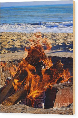 Wood Print featuring the photograph Fire At The Beach by Mariola Bitner