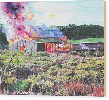 Fire At Whitney Beef Wood Print