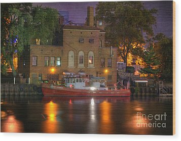 Fire Boat On Cuyahoga River Wood Print by Juli Scalzi