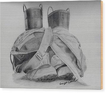 Fire Boots Wood Print by George Carl