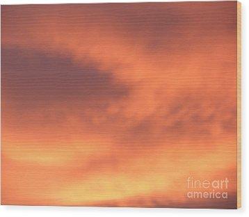 Fire Clouds Wood Print